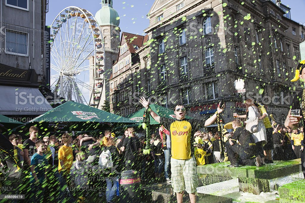 soccer fans celebrating german championship stock photo
