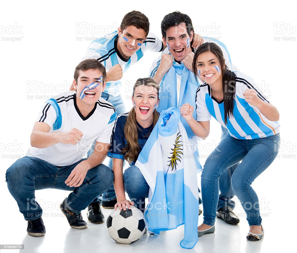 Soccer fans cheering for Argentina stock photo