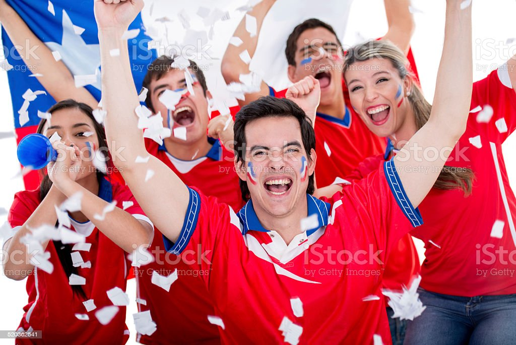 Soccer fans supporting Chile stock photo