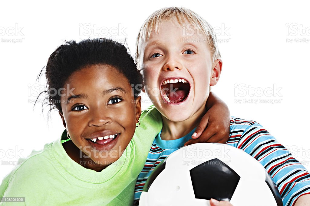 Soccer fans with football royalty-free stock photo