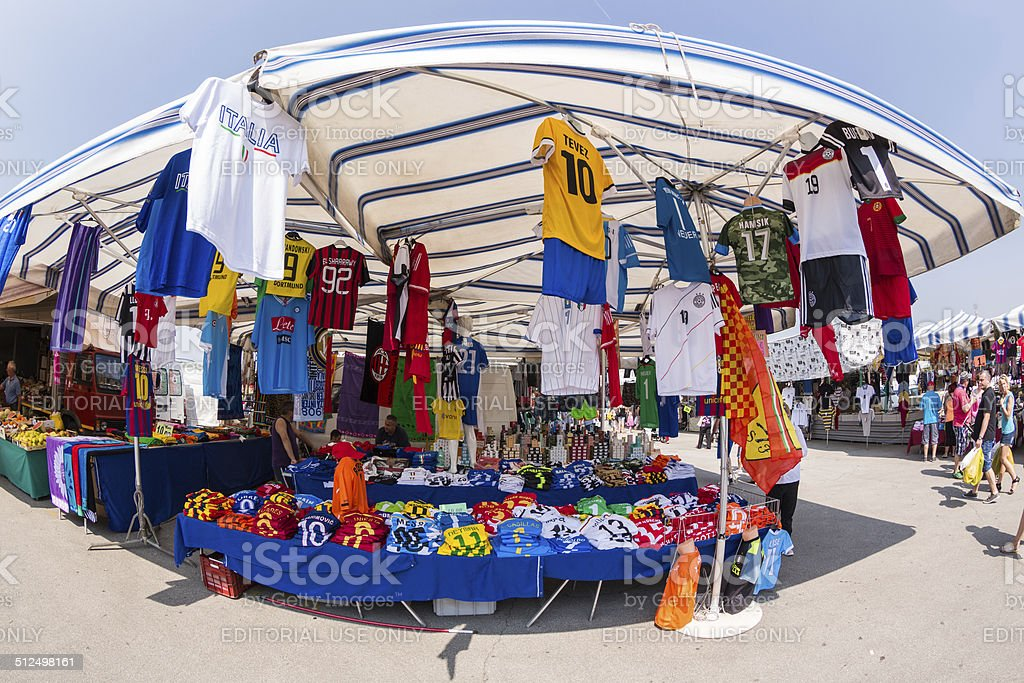 Soccer fanshop at Caorle Street Market stock photo