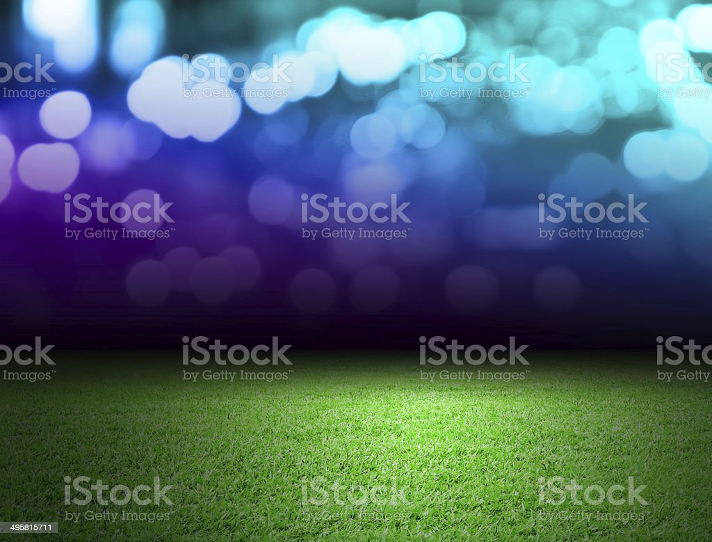Soccer field and bokeh background stock photo