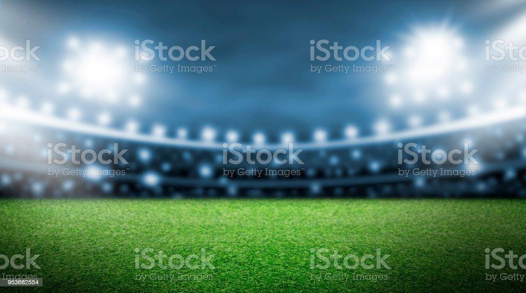 Fußballplatz und Spotlight Hintergrund im Stadion – Foto