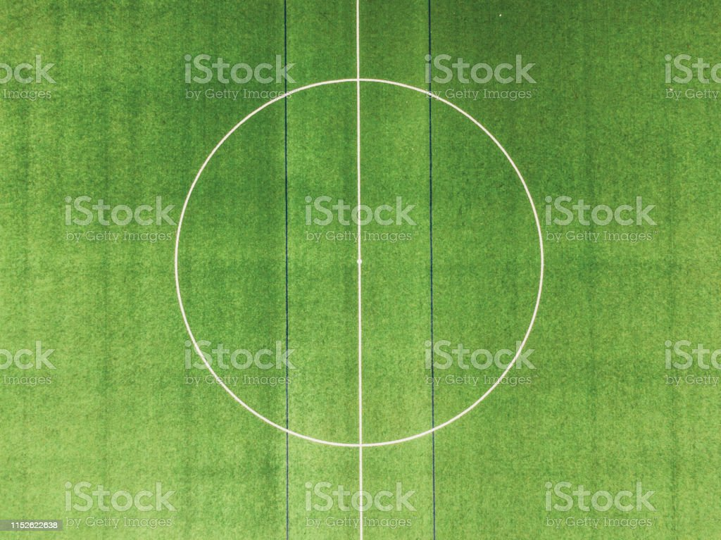 A soccer field as seen from directly above