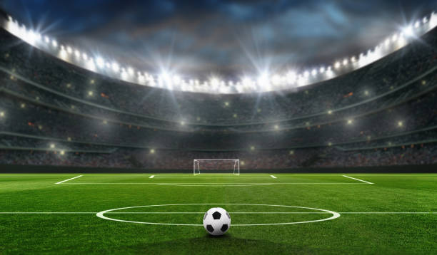 soccer field at evening with the bal and soccer goal soccer field at evening with the bal and soccer goal soccer field stock pictures, royalty-free photos & images