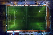 Soccer field at night - aerial view.
