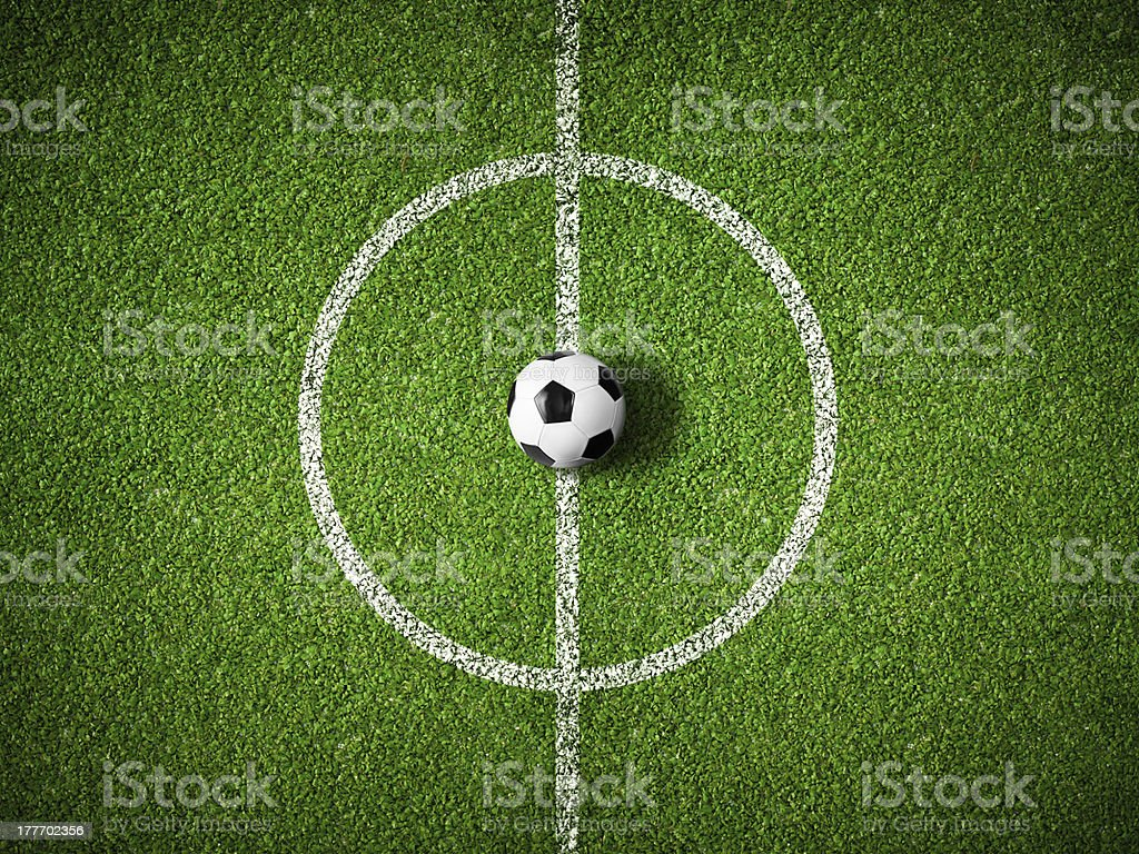soccer field center and ball top view background stock photo