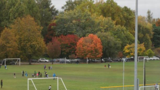Soccer field, Delta Plex, Portland, Oregon stock photo