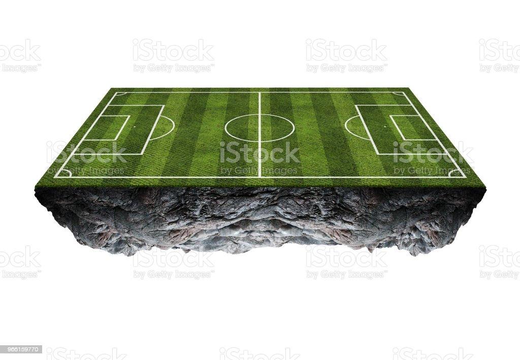 Voetbalveld drijvend island.isolated op witte achtergrond - Royalty-free Atleet Stockfoto