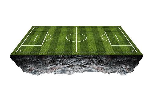 Voetbalveld Drijvend Islandisolated Op Witte Achtergrond Stockfoto en meer beelden van Atleet