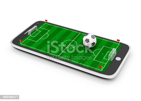 952196272 istock photo Soccer Field in Touchscreen Smart Phone with Soccer Ball 499466477