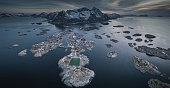 aerial view of soccer field overlooking the sea at the lofoten islands in norway.