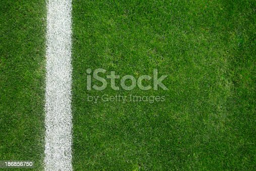 Close-up of soccer field with single line