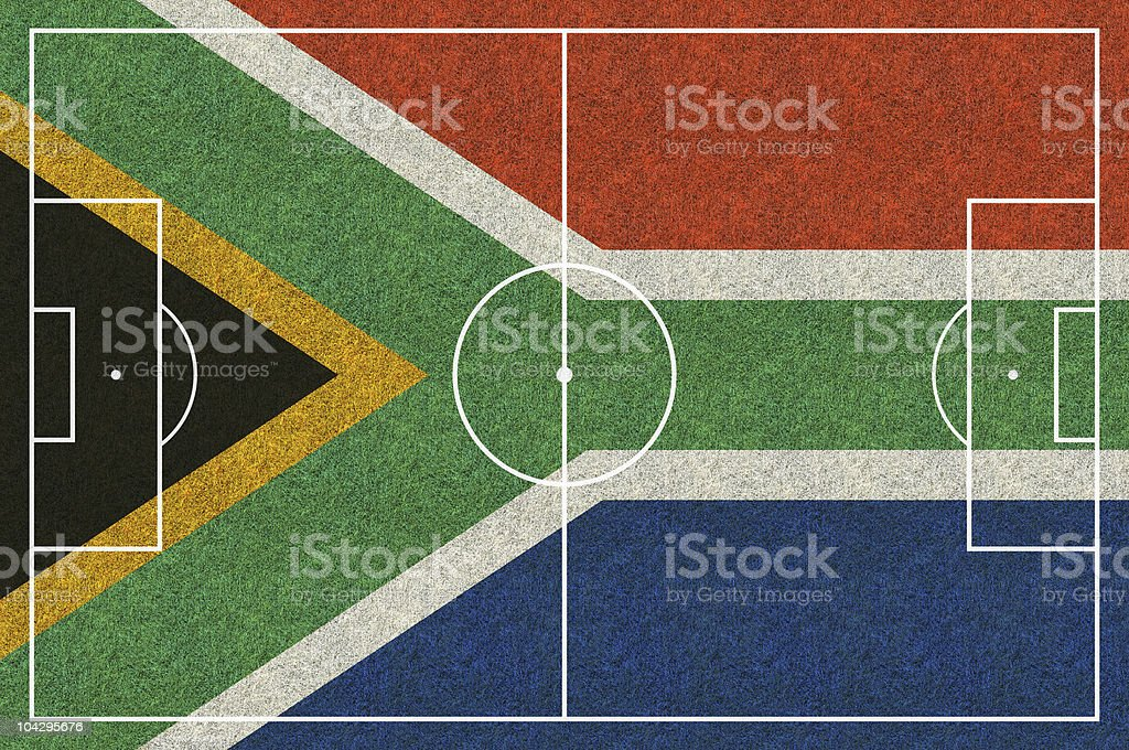 soccer field south africa flag royalty-free stock photo