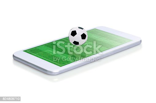 952196272 istock photo Soccer field with ball on smartphone edge display, isolated. 824809710
