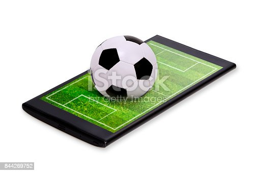 istock Soccer field with ball on smartphone edge display, isolated. 844269752