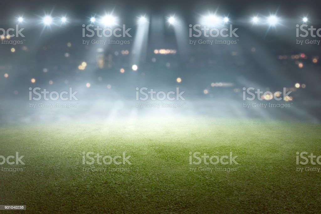 Soccer field with blur spotlight royalty-free stock photo