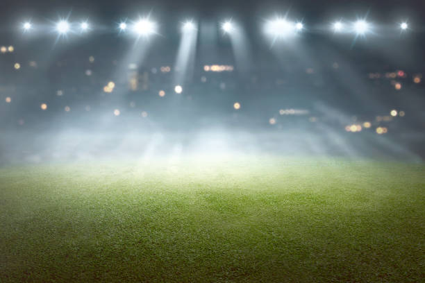 Soccer field with blur spotlight stock photo