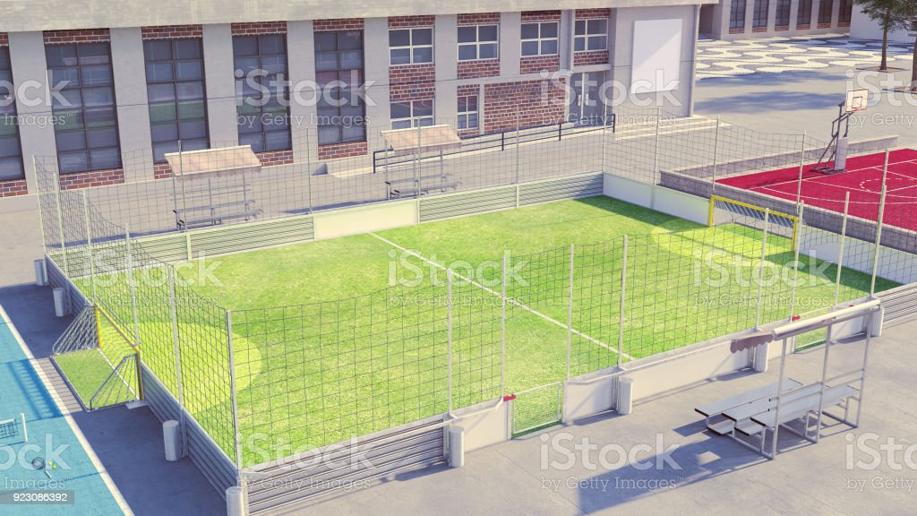 Soccer field with clean avertisement boards stock photo