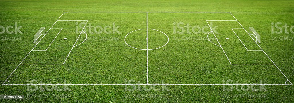soccer field with goal post stock photo