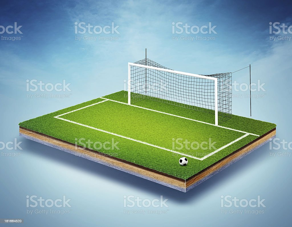 soccer field with goals royalty-free stock photo