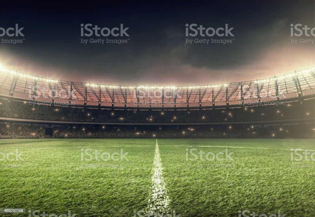 soccer field with illumination and night sky