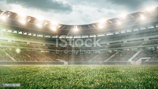 Soccer field with illumination, green grass and cloudy sky, background for design or advertising. 3D-model. Copyspace to insert your image or text. Concept of sport, active lifestyle, buildings.