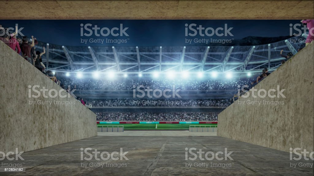 soccer field with lights and spectors 3d rendering view from entering corridor stock photo