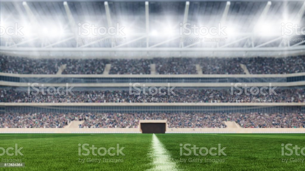 soccer field with lights and spectors panorama 3d rendering stock photo