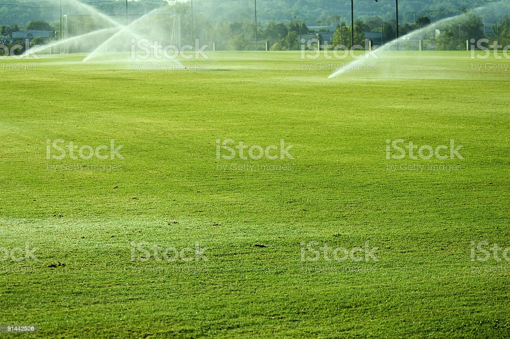 Soccer Field with Soccer Goal at Park royalty-free stock photo