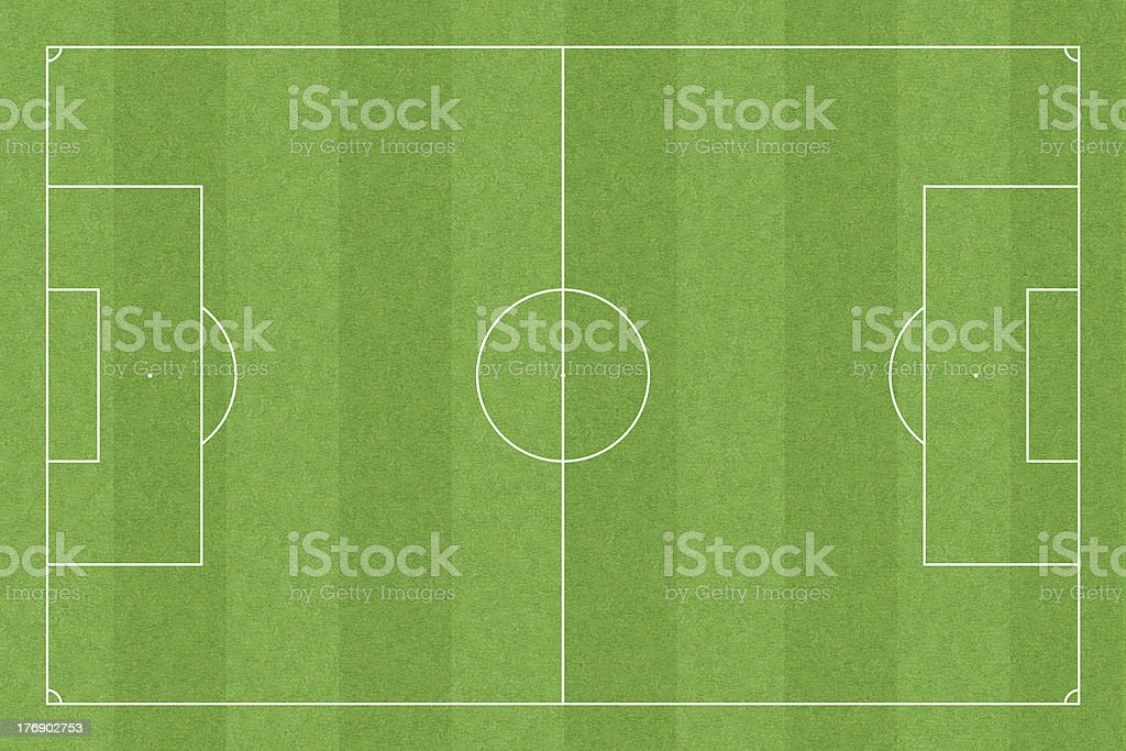 Soccer field with standard measures (3:2 format) stock photo