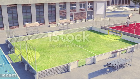 istock Soccer field with white commercial boards 923086476