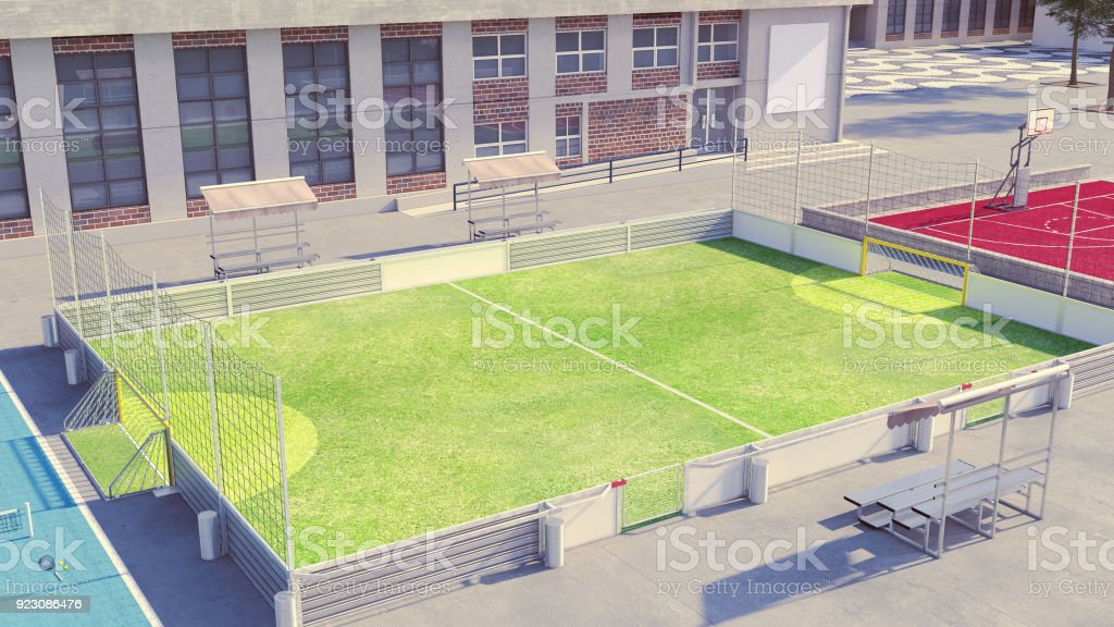 Soccer field with white commercial boards stock photo