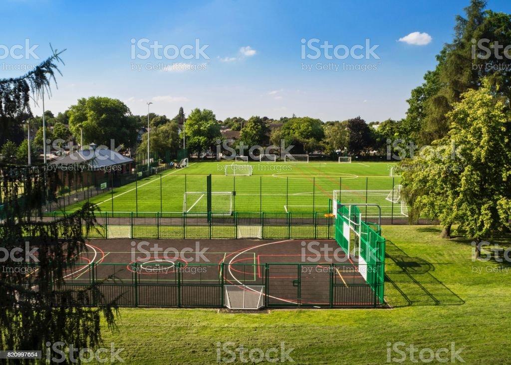 Soccer Fields , Downtown Nottingham , UK stock photo
