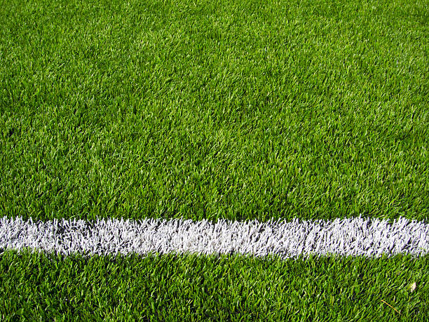 Soccer Field's Line Horizontal Limit lines of a sports grass field turf stock pictures, royalty-free photos & images