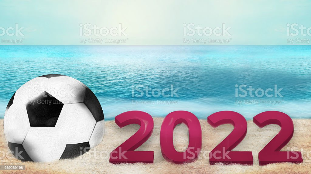 soccer football 3d render with sand and water photo royalty-free stock photo