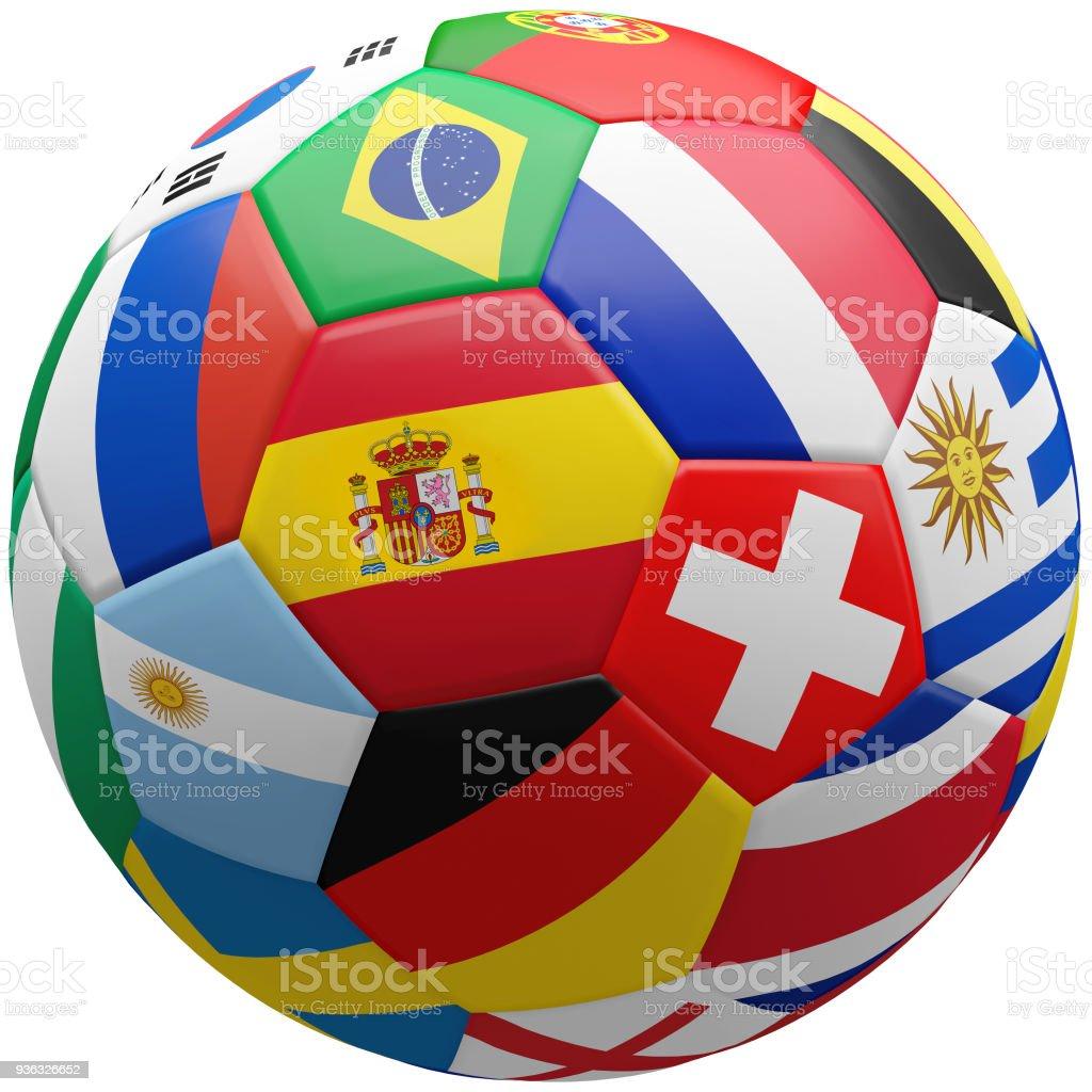 banderas de representación 3d fútbol fútbol - foto de stock