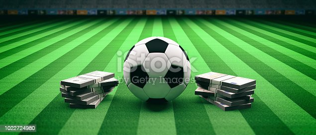 istock Soccer football ball and banknotes on a field background. 3d illustration 1022724980