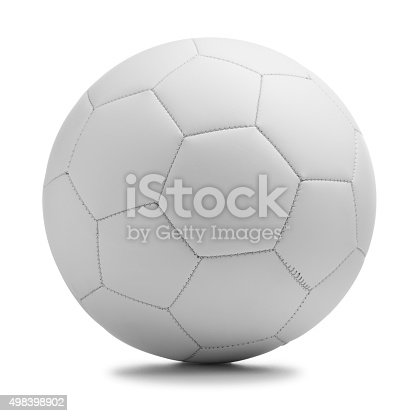 This is a photograph of a white soccer ball isolated on a white background with a drop shadow. Football is one of the most popular sports in the world.