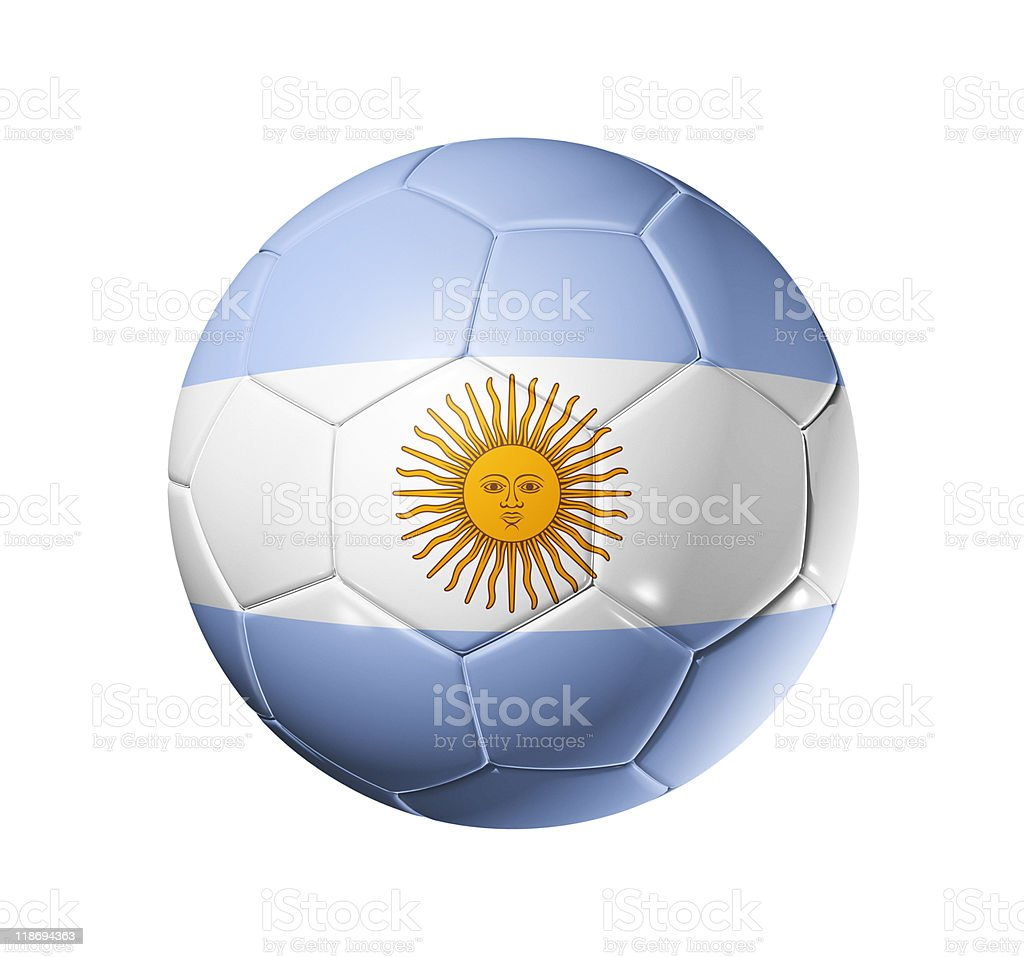 Soccer football ball with Argentina flag royalty-free stock photo