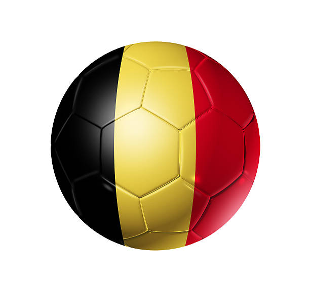 Soccer football ball with Belgium flag stock photo