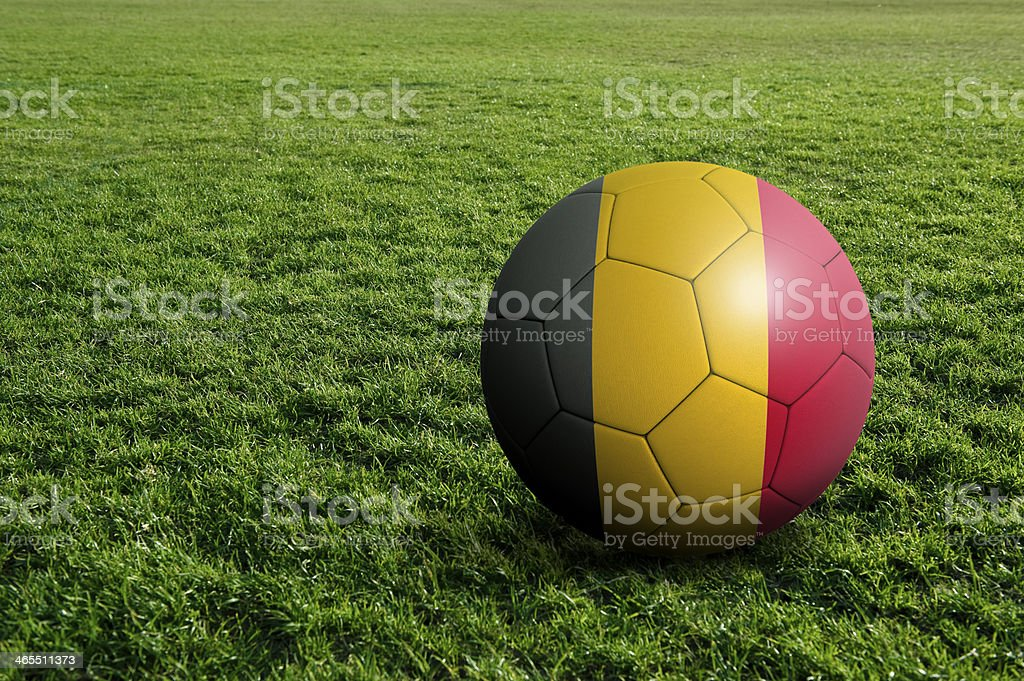 Soccer football ball with Belgium flag stock photo