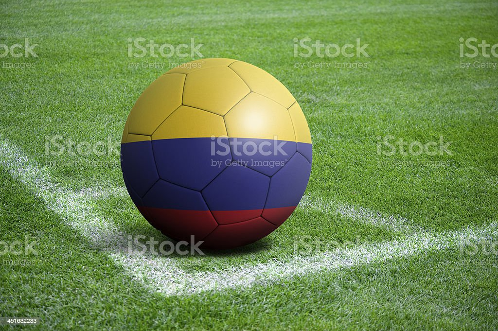 Soccer football ball with Colombia flag stock photo