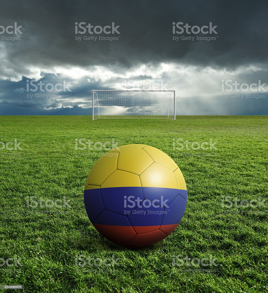 Soccer football ball with Colombia flag royalty-free stock photo