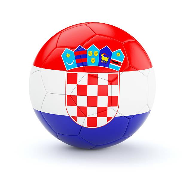 Pelota de fútbol fútbol con la bandera de croacia - foto de stock