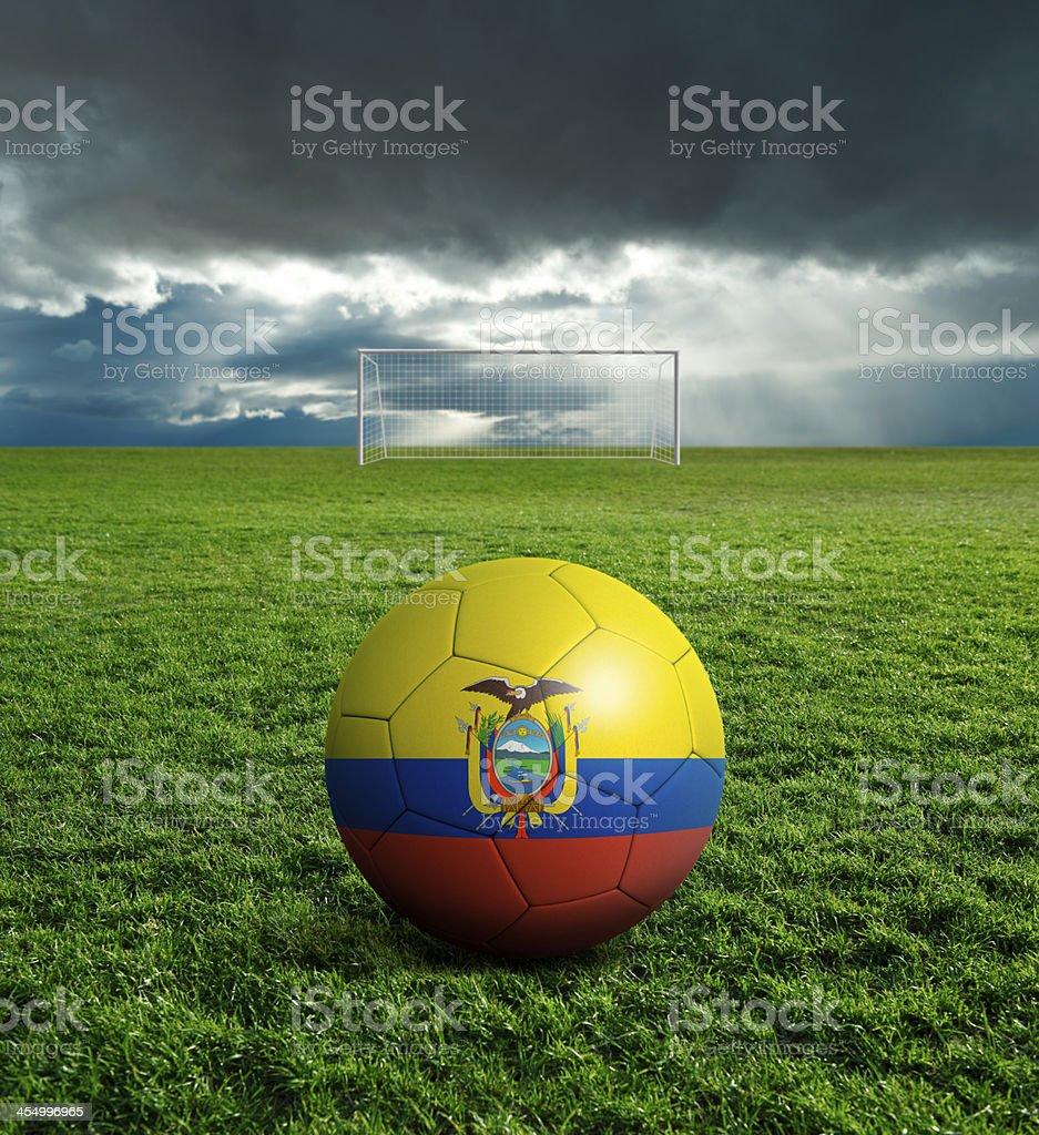 Soccer football ball with Ecuador flag royalty-free stock photo
