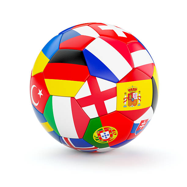 soccer football ball with europe countries flags - football portugal flag bildbanksfoton och bilder