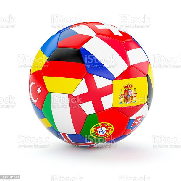 Soccer football ball with Europe countries flags