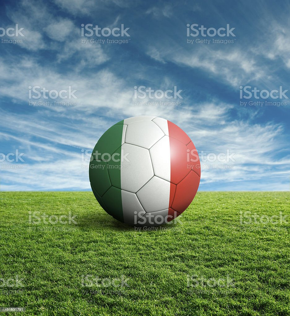 Soccer football ball with Italy flag royalty-free stock photo
