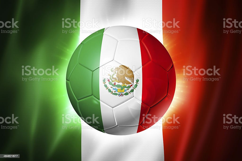 Soccer football ball with Mexico flag royalty-free stock photo